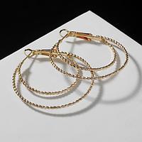 Серьги-кольца 'Карма' двойные переплетения, цвет золото, d3,5