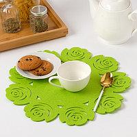 Салфетка декоративная Доляна'Цветы' цвет зеленый,d 30 см, 100 п/э, фетр