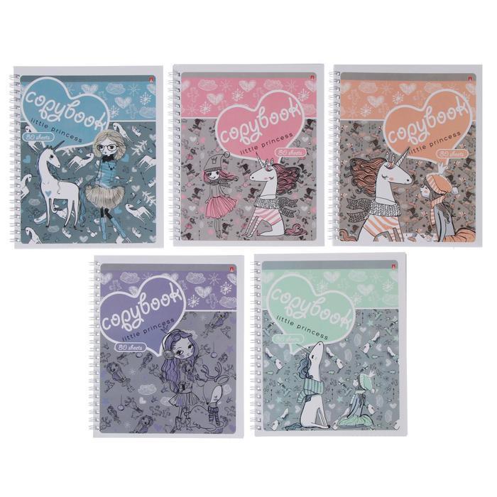 Тетрадь А5+, 80 листов в клетку, на гребне 'Девочка и единорог', обложка мелованный картон, глянцевая - фото 1
