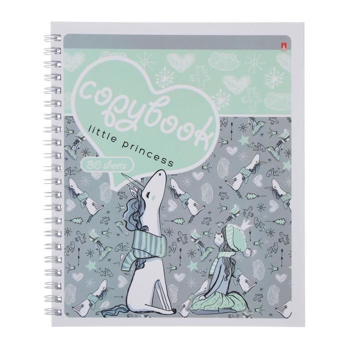 Тетрадь А5+, 80 листов в клетку, на гребне 'Девочка и единорог', обложка мелованный картон, глянцевая - фото 2