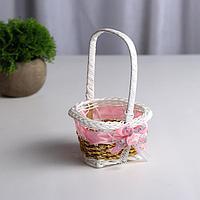 Миниатюра кукольная - корзинка 'Цветочек', цвет розовый