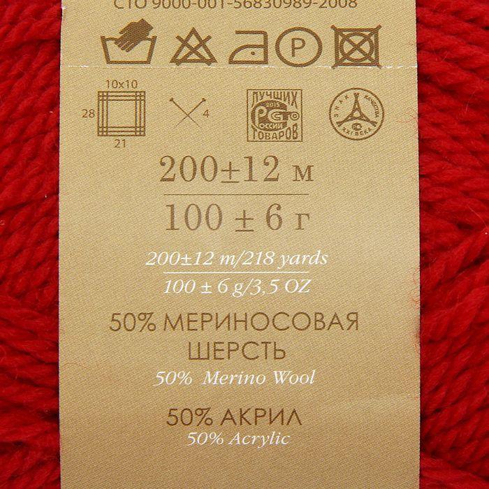Пряжа 'Мериносовая' 50меринос.шерсть, 50 акрил 200м/100гр(06-Красный) - фото 3