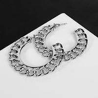 Серьги-кольца 'Цепи' плоские, цвет серебро