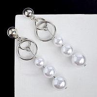 Серьги с жемчугом 'Аврора' дорожка на двух кольцах, цвет белый в серебре