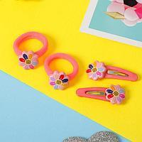 Набор для волос 'Кира' (2 резинки, 2 зажима) подсолнухи, розовый (комплект из 6 шт.)