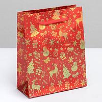 Пакет голографический вертикальный 'Веселья в Новом году', S 12 x 15 x 5.5 см (комплект из 12 шт.)