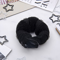 Валик для волос с кнопкой и резинкой, чёрный (комплект из 6 шт.)