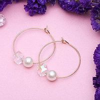 Серьги-кольца 'Бусина' с ромбом, d6 см, цвет белый в золоте