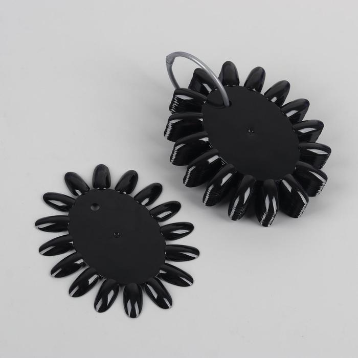 Палитра для лаков 'Овал', 10 шт по 16 ногтей, цвет чёрный - фото 1