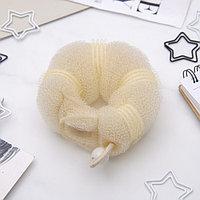 Валик для волос с кнопкой и резинкой, бежевый (комплект из 6 шт.)