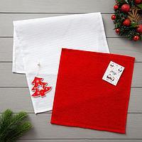 Набор полотенец LoveLife 'Новогодняя ель' вафля 35*60 см, махра 30*30 см + игрушка