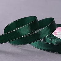 Лента атласная 'Серебряные нити', 15 мм x 23 ± 1 м, цвет зелёный 049