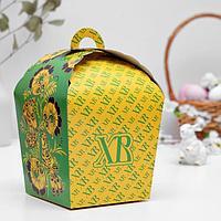 Пасхальная коробочка 'ХВ', зеленая хохлома, 17 х 17 х 26 см (комплект из 5 шт.)