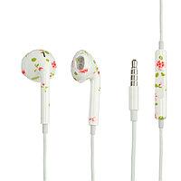 Наушники LuazON LN-7, вкладыши, микрофон, принт цветы
