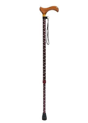 """Трость телескопическая Мега-оптим ТР1 (01) с блестящей стойкой """"Спираль"""" с деревянной ручкой"""