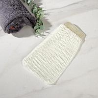 Мочалка-варежка Доляна, массажная, 22x12 см, цвет белый