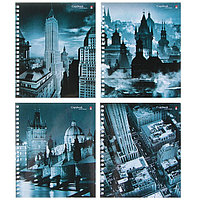 Тетрадь 80 листов в клетку на гребне 'Города', обложка мелованный картон, глянцевая ламинация, МИКС
