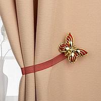 Подхват для штор 'Бабочка', 6 x 4 см, 26 см, цвет золотой/бордовый (комплект из 2 шт.)