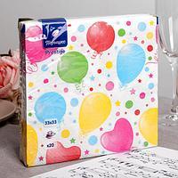 Салфетки бумажные Перышко Prestige праздник, 3 слоя 20 листов 33х33