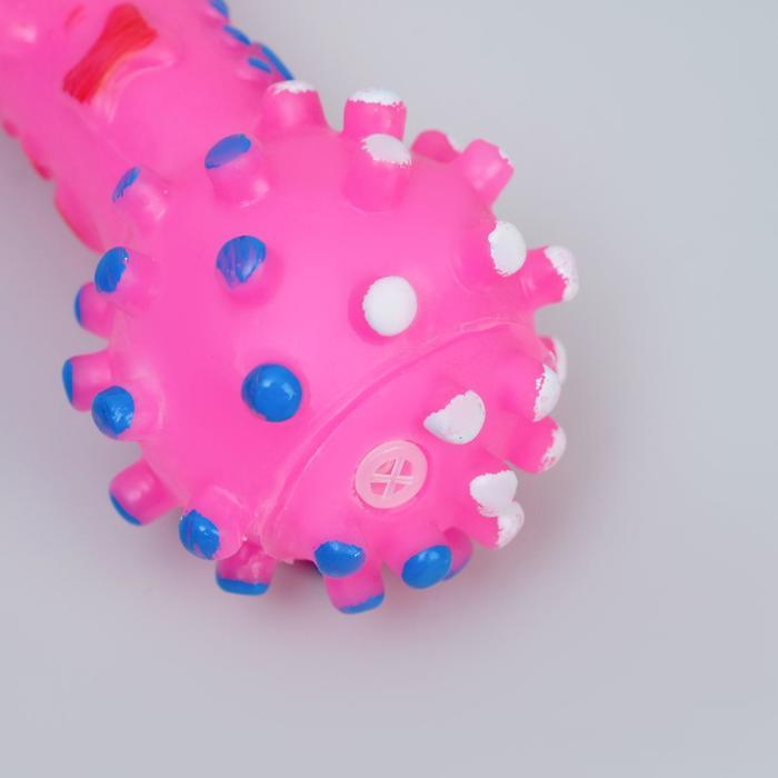 Игрушка пищащая 'Гантель малая' для собак, 12,5 см, розовая - фото 4