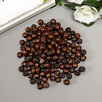 Бусины деревянные 'Астра' круглые, 10 мм, 50 гр, тёмно-коричневый