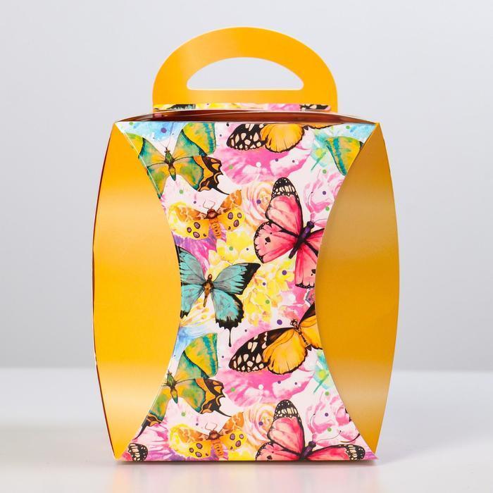 Коробка для кулича 'Бабочки цветные' диаметр 12,4 см - фото 2