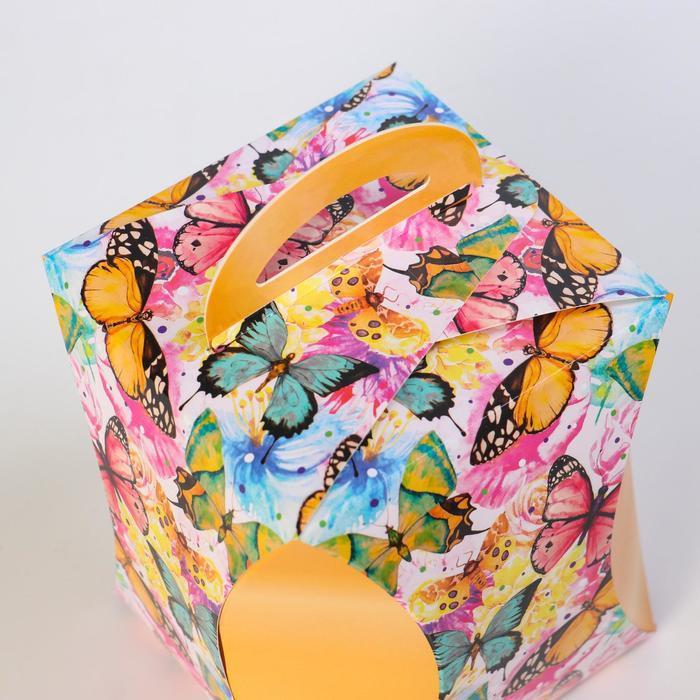 Коробка для кулича 'Бабочки цветные' диаметр 12,4 см - фото 3