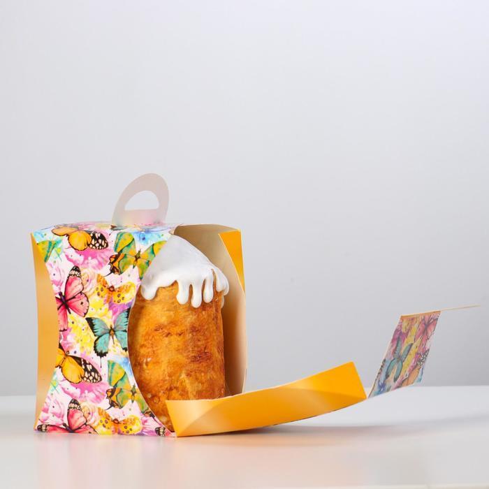 Коробка для кулича 'Бабочки цветные' диаметр 12,4 см - фото 4