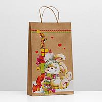 Пакет подарочный крафт 'Новогодний зайчик', 40,5 х 24,8 х 9 см (комплект из 12 шт.)
