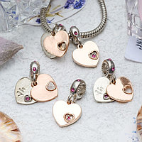 Подвеска 'Два сердца', цвет серебряно-золотой (комплект из 5 шт.)