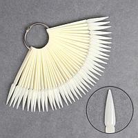 Палитра для лаков на кольце, 40 ногтей, форма стилет, цвет 'слоновая кость'