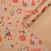 Бумага упаковочная крафтовая 'Влюбленные котики', 50 x 70 см (комплект из 20 шт.)