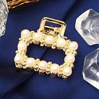 Краб для волос 'Аманда' прямой жемчуг, 2,5 см, золото (комплект из 6 шт.)