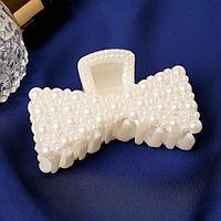 Краб для волос 'Нея' бант сплошной, 6,5х3,5 см, белый (комплект из 12 шт.)