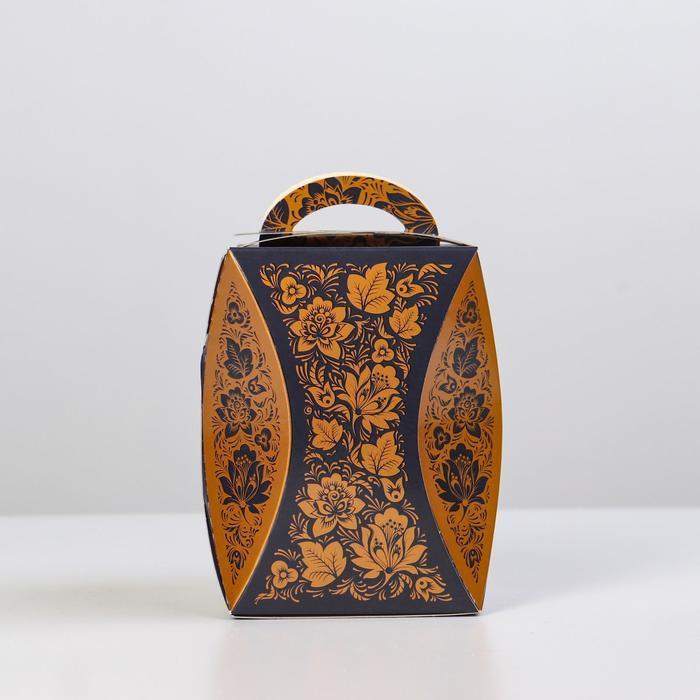 Коробка для кулича 'Узор хохломы черный' диаметр 9 см - фото 2