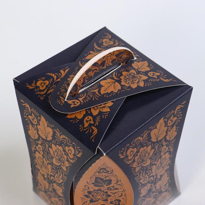 Коробка для кулича 'Узор хохломы черный' диаметр 9 см - фото 3