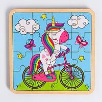 Пазл - вкладыш в рамке 'Единорог на велосипеде' 16x16 см