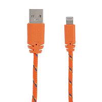 Кабель LuazON, Lightning - USB, 1 А, 1 м, оплётка нейлон, оранжевый