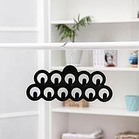 Вешалка для ремней и галстуков Доляна, 11 крючков, флокированное покрытие, 30,5x20,5 см, цвет чёрный