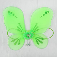 Кукольная миниатюра. Крылья на резинке 'Цветок', цвет зелёный