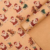 Бумага упаковочная крафтовая 'Олени на санях', 50 x 70 см (комплект из 10 шт.)
