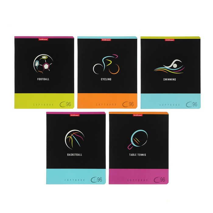 Тетрадь 96 листов в клетку Erich Krause Sport Signs, обложка мелованный картон, МИКС (комплект из 5 шт.) - фото 1