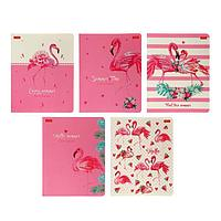 Тетрадь А5, 48 листов в клетку 'Розовый фламинго', обложка мелованный картон, матовая ламинация, 3D-лак, МИКС