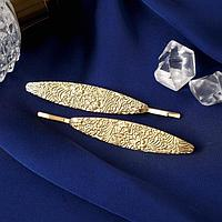 Невидимка для волос 'Либерти' (набор 2 шт) 7,5 см цветочные узоры, золото