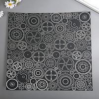 Лист бумаги с фольгированием 'Silver Gears Black' 30,5х30,5 см (комплект из 9 шт.)