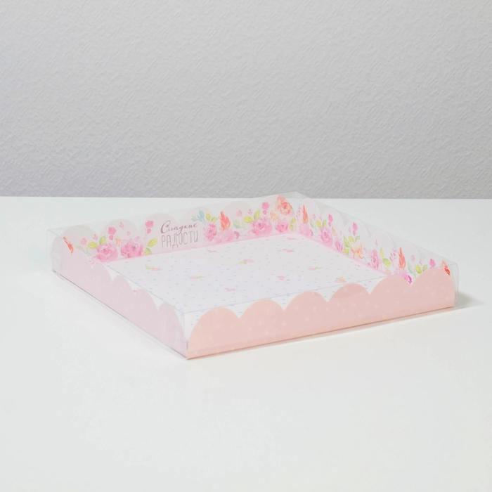 Коробка для кондитерских изделий с PVC крышкой 'Сладкие радости', 21 x 21 x 3 см (комплект из 10 шт.) - фото 1