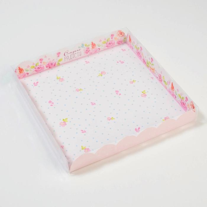 Коробка для кондитерских изделий с PVC крышкой 'Сладкие радости', 21 x 21 x 3 см (комплект из 10 шт.) - фото 2