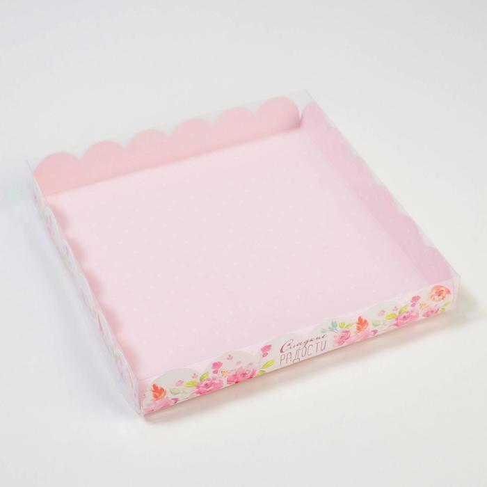 Коробка для кондитерских изделий с PVC крышкой 'Сладкие радости', 21 x 21 x 3 см (комплект из 10 шт.) - фото 3