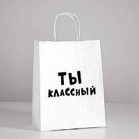 Пакет подарочный с приколами 'Ты классный', 24 х 14 х 30 см (комплект из 10 шт.)