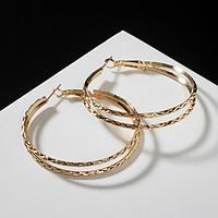 Серьги-кольца 'Карма' косичка, цвет золото, d5
